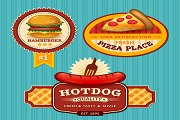 3 color fast food label vector