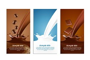 3 creative drinks banner vector