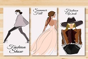 3 fashion girl banner vector