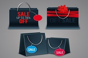 3 promotional shopping bag vector