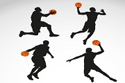 4 basketball men silhouette vector