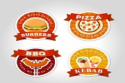 4 color fast food label vector