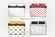 4 stylish double bed design vector