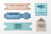 5 color tickets design vector