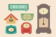 6 Retro Clock vector