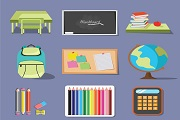 9 cartoon learning supplies vector