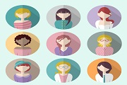 9 flat woman picture vector