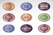 9 retro promotional label vector