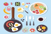 Exquisite food and tableware vector