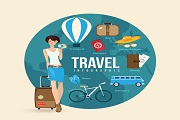 Global travel girl design vector