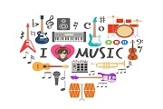 Music elements combined love vector