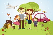 One family vacation vector