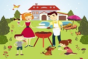 Outdoor barbecue family vector
