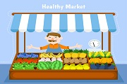 Sell fruit and vegetable stalls vec