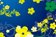 Green Floral Vector in Blue Backgro