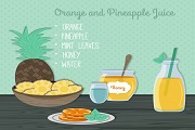 orange and pineapple juice vector