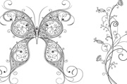 Free vector butterfly and flower