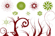 Free Vector Flowers and Swirls